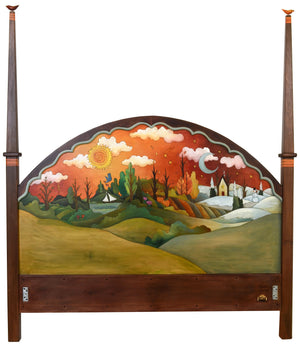 Queen Bed with Posts –  Changing Seasons queen bed with posts with scenes of the four seasons motif