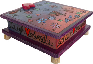Keepsake Box – Cute pink and purple box with ladybugs, flowers, and hearts design