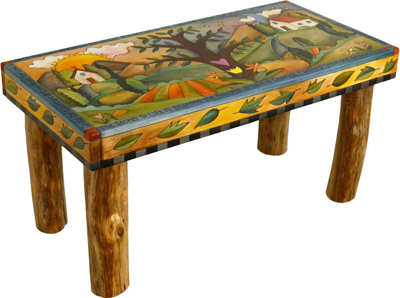 Sticks handmade 3' bench with tree of life and rolling landscape