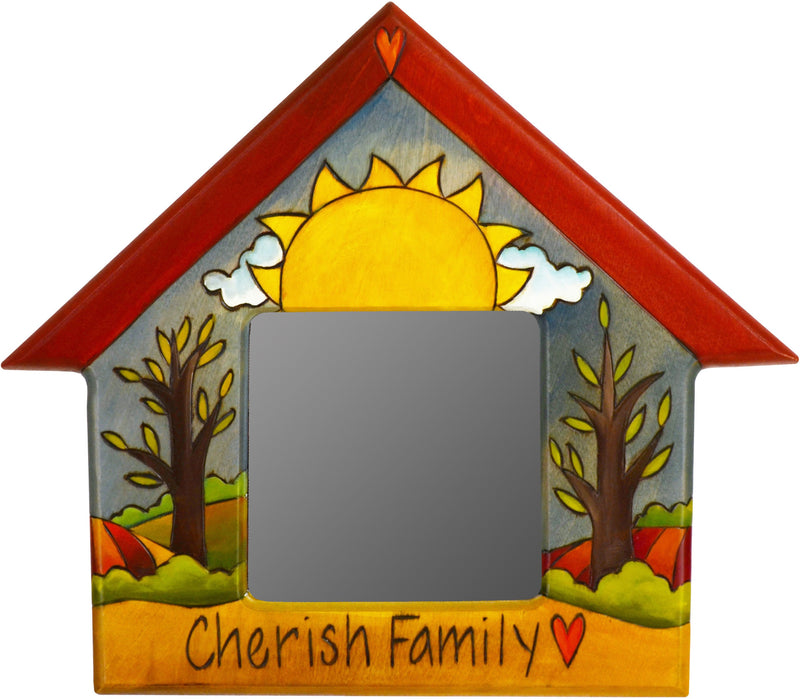 "House Shaped Mirror –  ""Cherish Family"" house-shaped mirror with sun and tree of life motif"