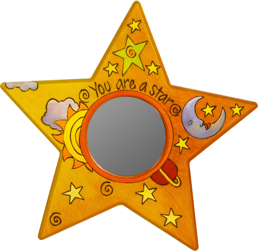 "Star Shaped Mirror –  ""You are a Star"" star-shaped mirror with warm colored sun, moon and star motif"