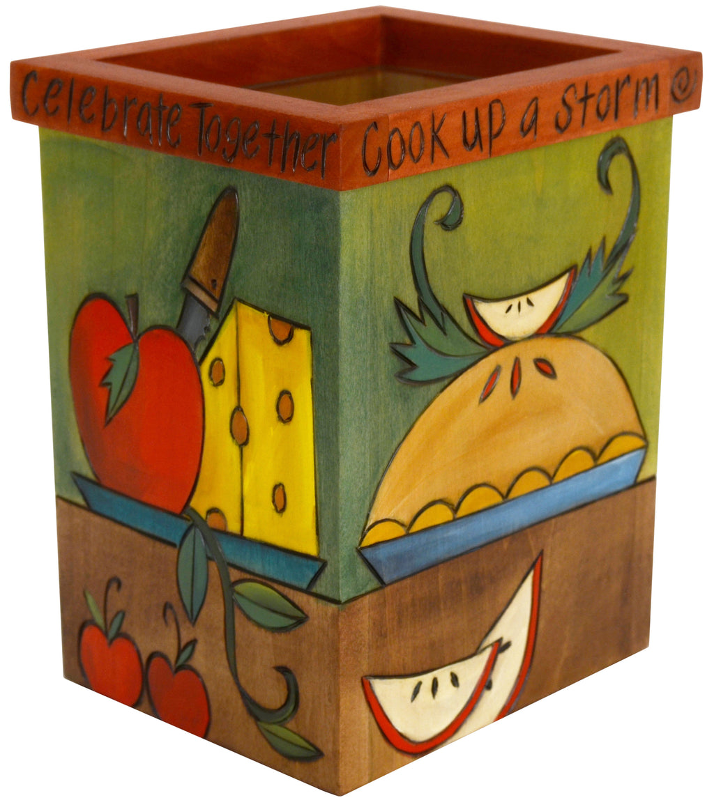 "Vase/Utensil Box – ""Cook up a storm"" apple pie, fruit, vegetables, and wine box motif"