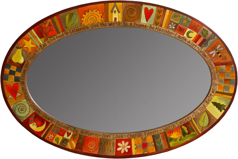 Oval Mirror –  Colorful oval mirror with block icons in warm hues