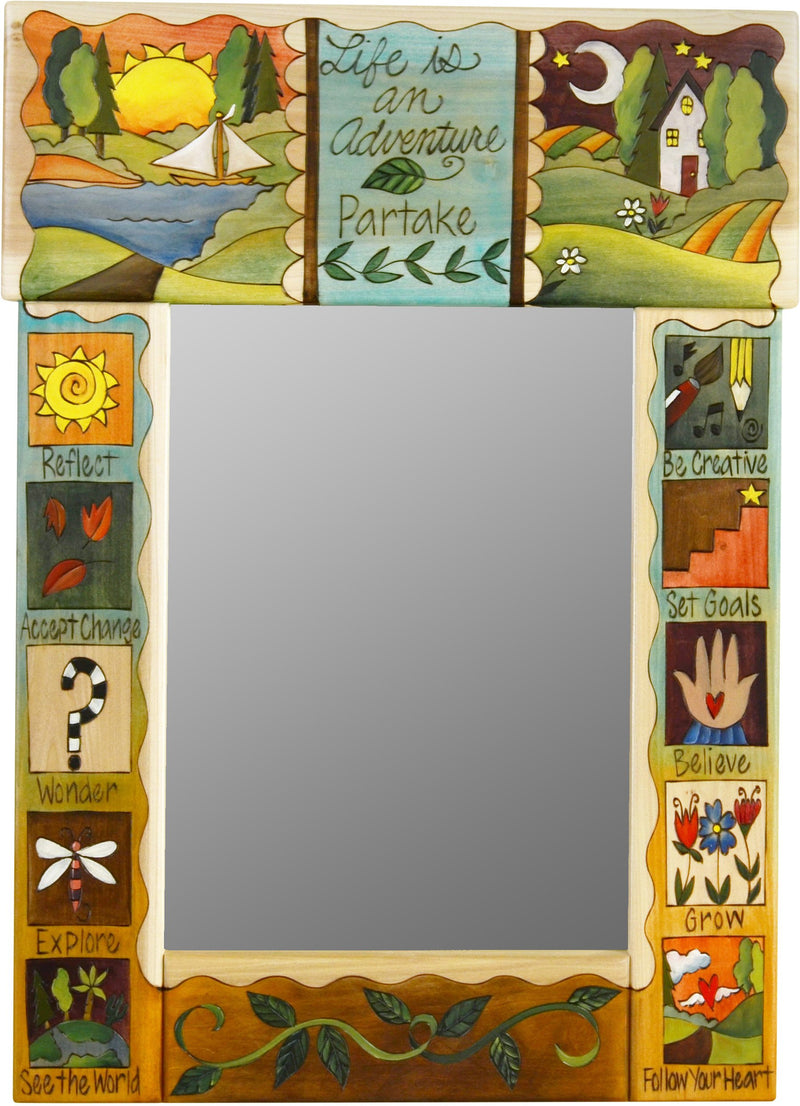 "Medium Mirror –  ""Life is an Adventure/Partake"" mirror with sunset on the lake and starry night over the rolling hills motif"