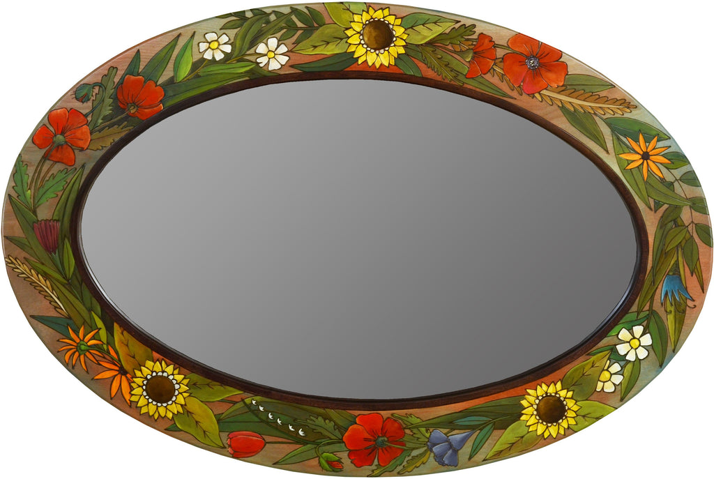 Oval Mirror –  Beautiful floral mirror with garden rich hues