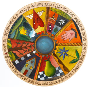 "Sticks Handmade 20"" Lazy Susan with life icons in bright colors"