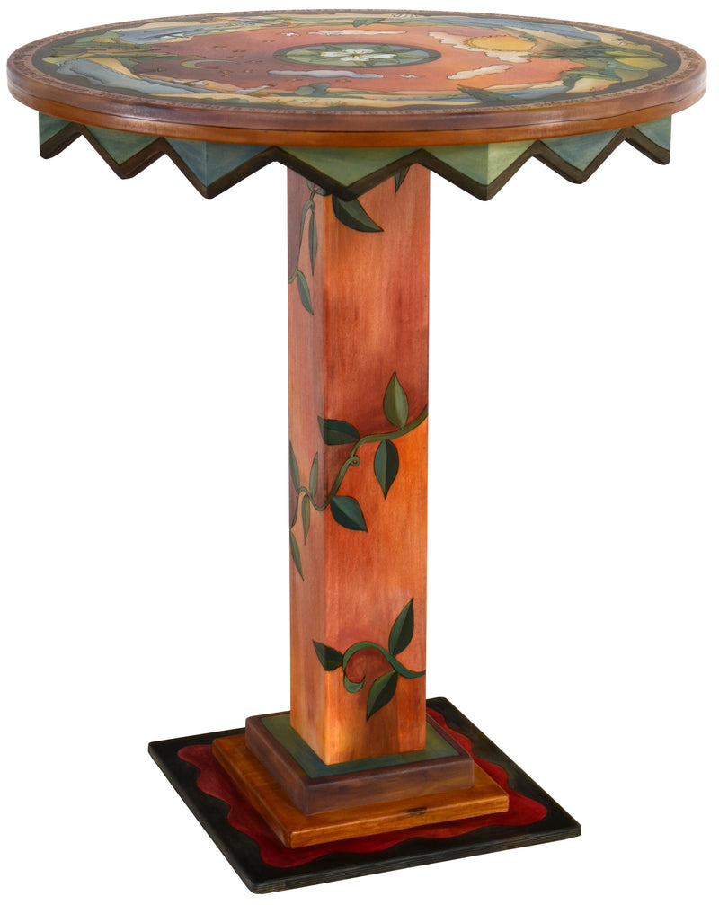 "Bar Height Table –  ""Seize the Day/Relish the Night"" bar height table with the sun and moon over a warm beach motif"