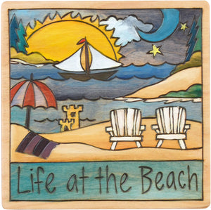 "7""x7"" Plaque –  ""Life at the beach"" relaxing shoreline motif"