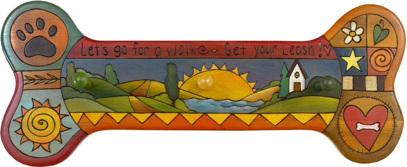 "Horizontal Dog Leash Rack –  ""Let's go for a Walk/Get your Leash"" horizontal dog leash rack with home and sunset motif"