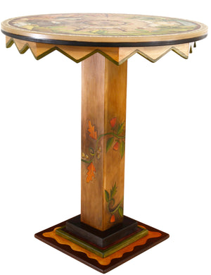 "Bar Height Table –  ""See the World"" bar height table with beautiful landscapes of the changing seasons motif"