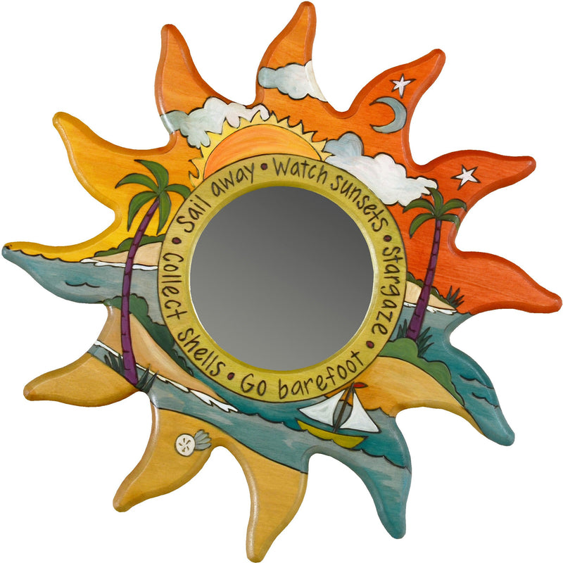 "Sun Shaped Mirror –  ""Go Barefoot"" sun-shaped mirror with sunset over a beach paradise motif"