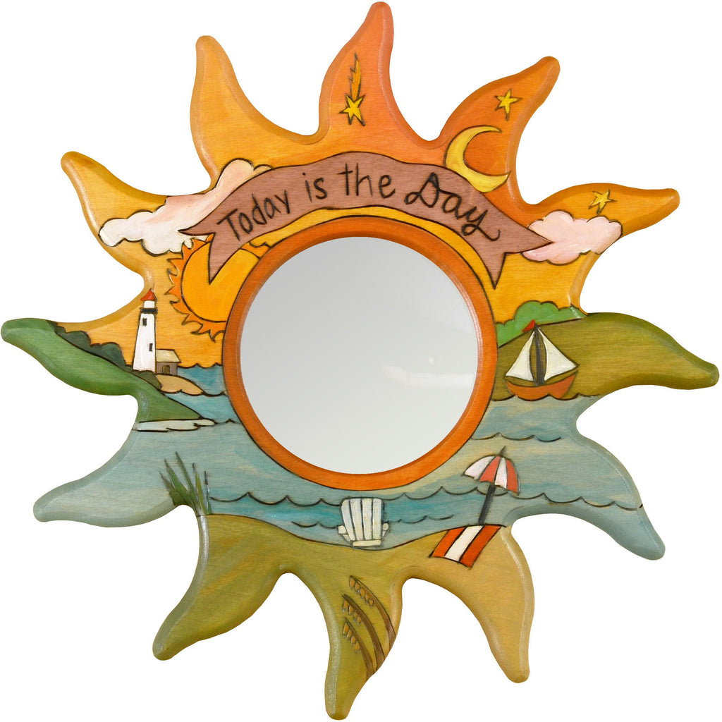 "Sun Shaped Mirror –  ""Today is the Day"" Sun-shaped mirror with warm sunset over the ocean motif"