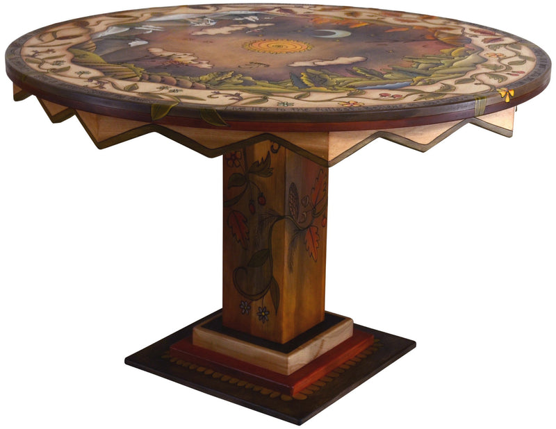 Sticks handmade dining table with mountainous four seasons landscape
