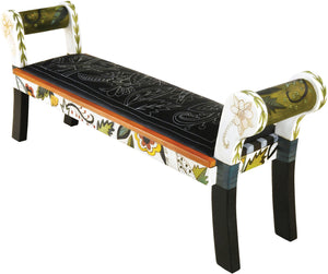 Rolled Arm Bench with Leather Seat –  Black and White rolled arm bench with leather seat with bright contemporary floral motif
