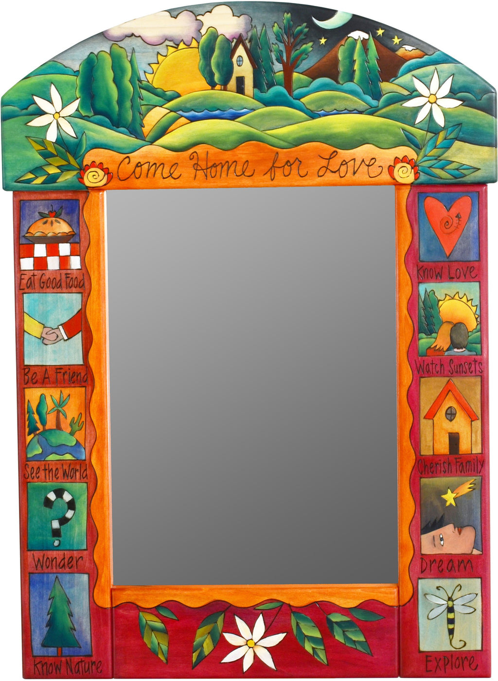 "Medium Mirror –  ""Come Home for Love"" mirror with sunset behind home with rolling hills motif"
