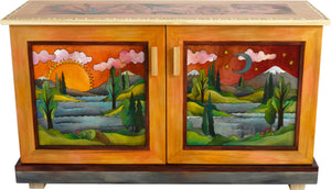 Sticks handmade buffet with landscape motif