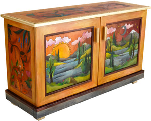 Medium Buffet –  Beautiful two door buffet featuring a lush landscape painting, sun and moon motif, and interior shelving main view