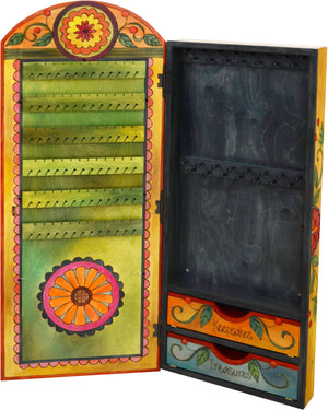 "Jewelry Cabinet –  ""Keepsakes/Treasures"" jewelry cabinet with bright floral motif"