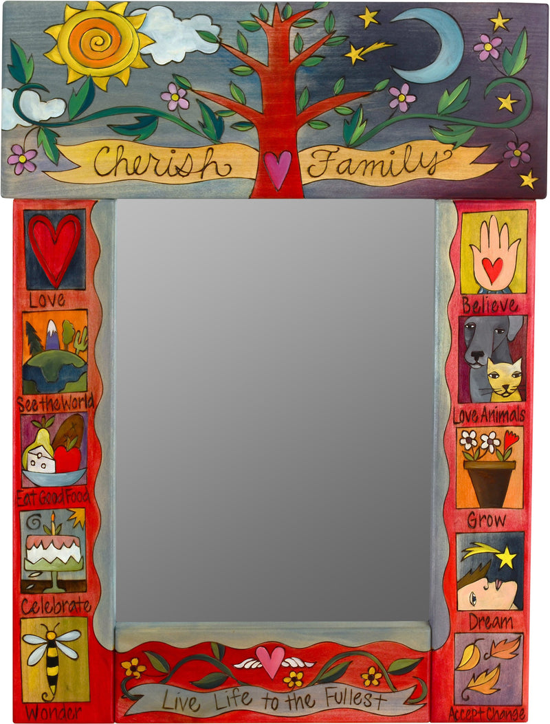 "Medium Mirror –  ""Cherish Family"" mirror with sun, moon and family tree motif"