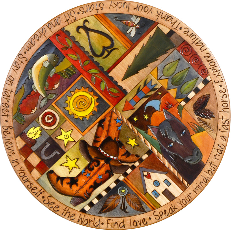 "Sticks Handmade 20""D lazy susan with western motif in rich hues"