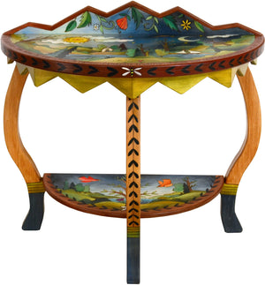 Small Half Round Table –  Beautiful half round table with rolling landscape, tree of life and sun and moon imagery