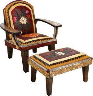 Friedrich's Chair and Matching Ottoman –  Beautiful warm colored Friedrich's chair with ottoman and sunset over the rolling hills motif
