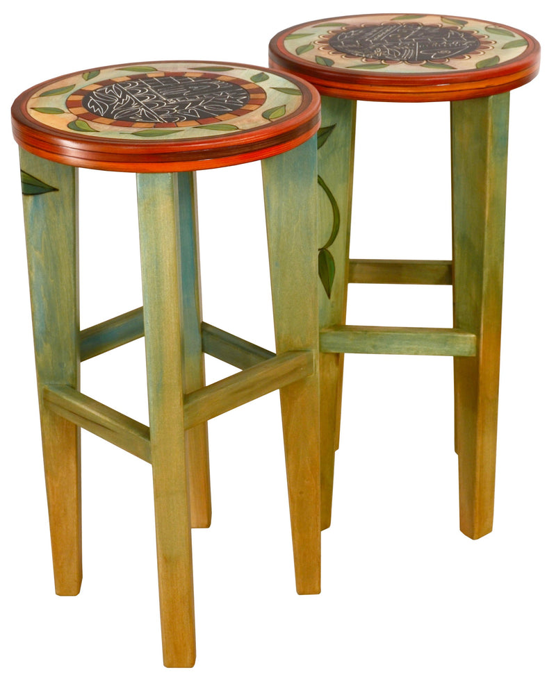 "Bar Height Table –  ""Follow Your Heart"" bar height table with home and tree of life motif"