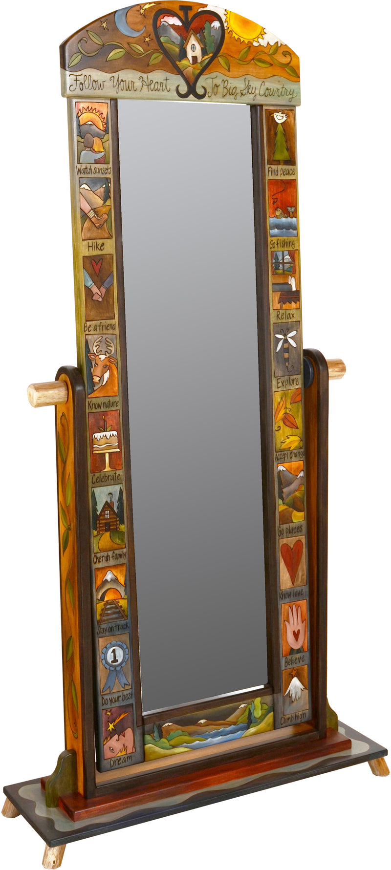 "Wardrobe Mirror on Stand –  ""Follow your Heart"" mirror on stand with sun and moon over cozy home in heart motif"