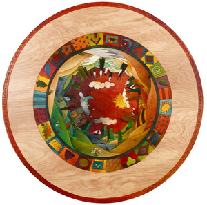 Sticks handmade dining table with colorful folk art imagery and four seasons landscape