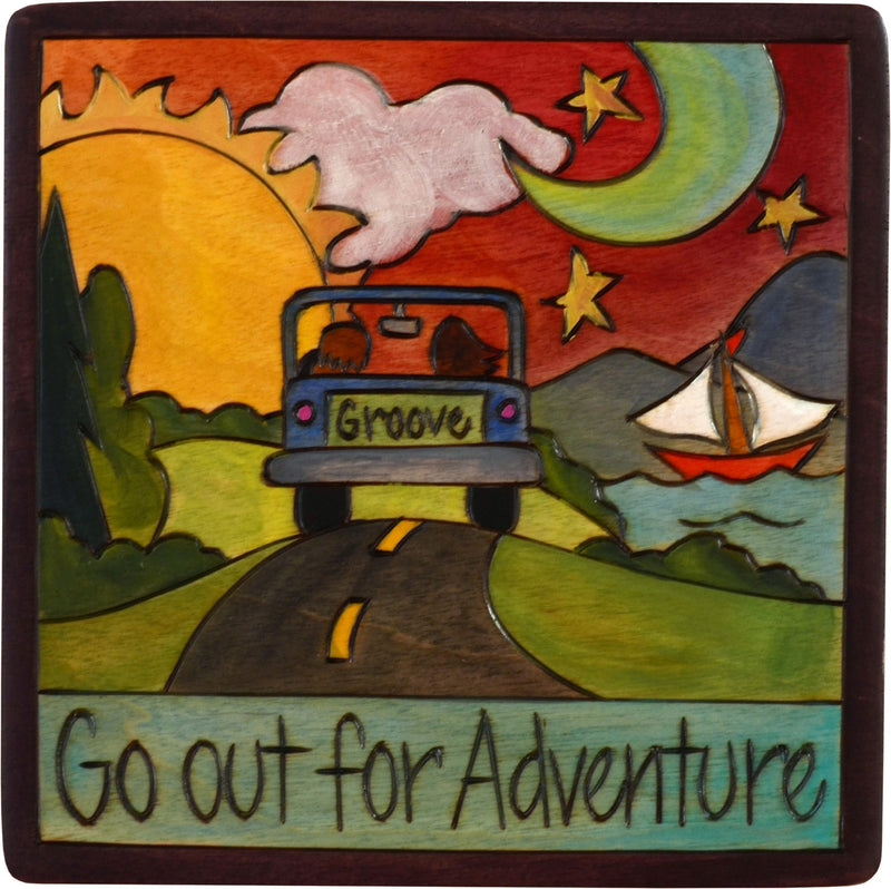 "Sticks handmade wall plaque with ""Go out for Adventure"" quote and theme"