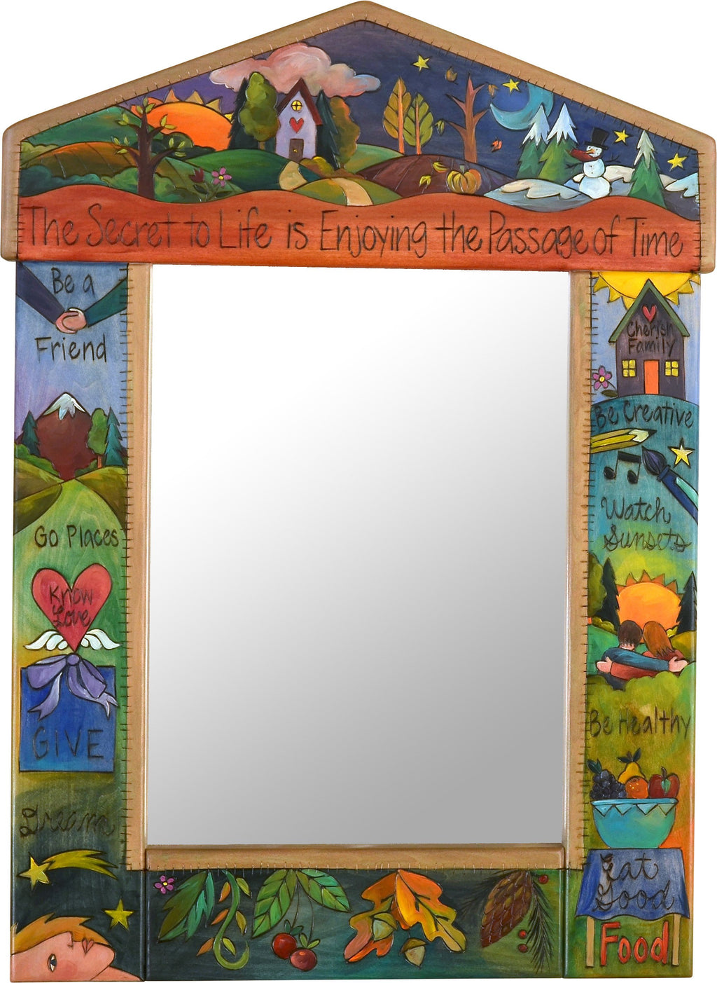 "Medium Mirror –  ""The Secret to Life is Enjoying the Passage of Time"" mirror with sun and moon over scene of the changing seasons motif"