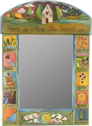 "Medium Mirror –  ""Home is where the Heart is"" mirror with sunset and starry sky behind home on the horizon motif"