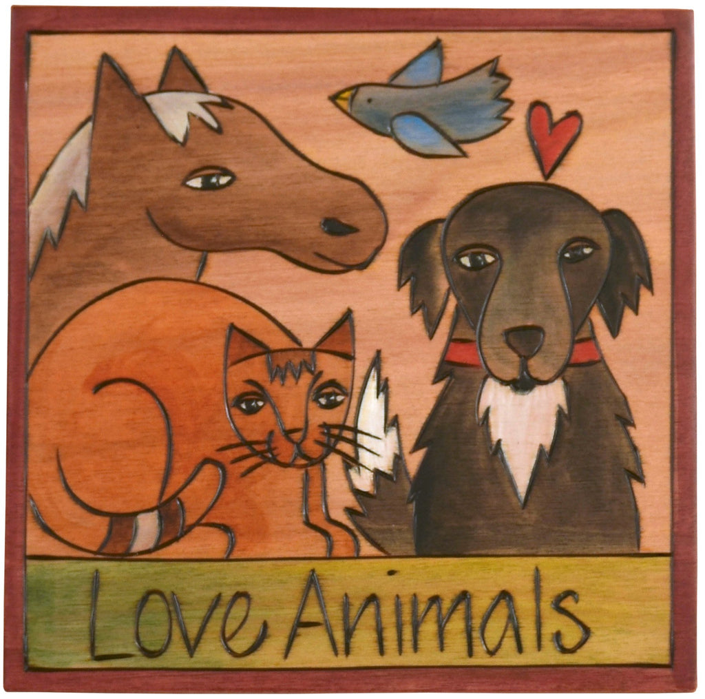 "Sticks handmade wall plaque with ""Love Animals"" quote and theme"