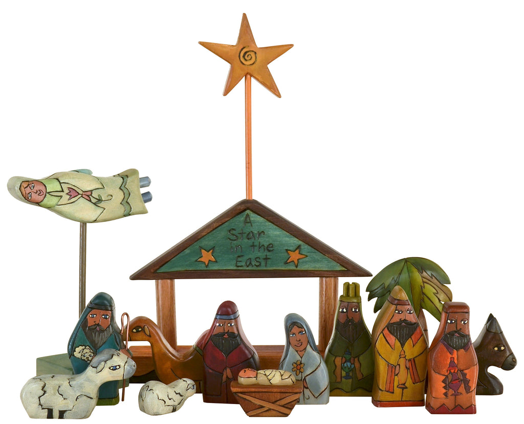 "Small Nativity –  ""A Star in the East"" nativity with blue/green roof"