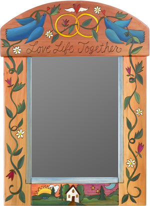 "Medium Mirror –  ""Love Life Together"" mirror with love birds and rings motif"