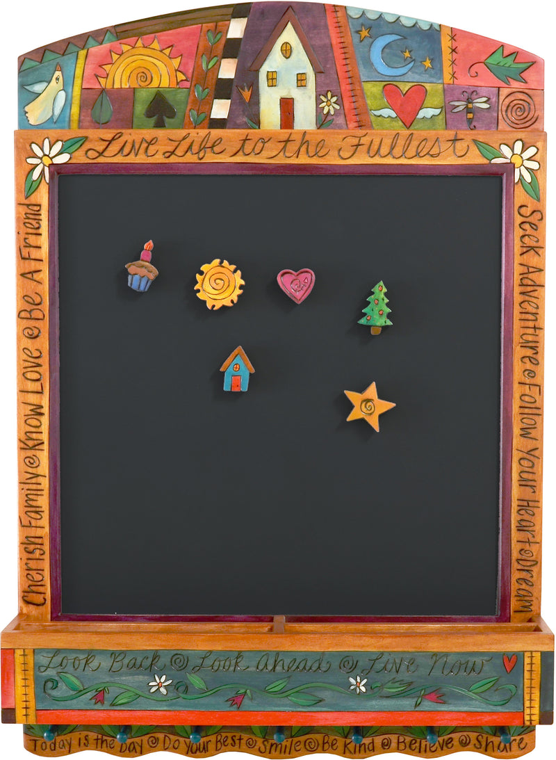 "Info Center –  ""Live Life to the Fullest"" activity board with sun, moon and home motif"