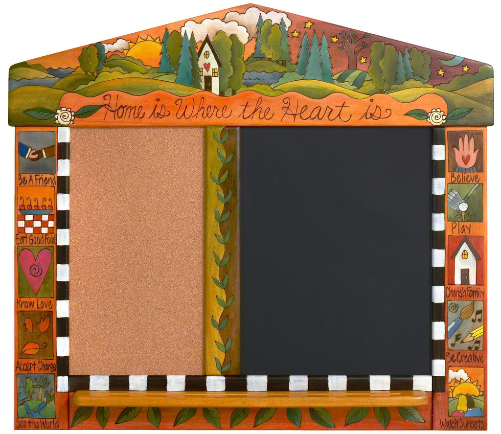 "Medium Activity Board –  ""Home is Where the Heart it"" activity board with sun and moon over a cozy home nestled in the woods motif"