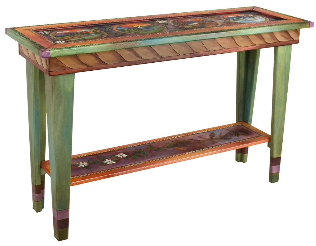 Sticks handmade sofa table with four seasons landscape motif