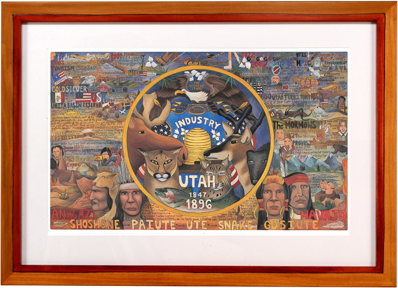 Framed Utah Flag Lithograph –  Beautiful litho print honoring the state of Utah encased in a handcrafted frame