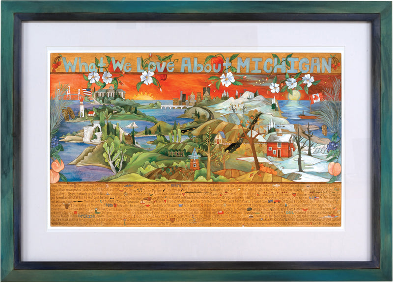 "Framed WWLA Michigan Lithograph –  ""What We Love About Michigan"" litho print in a handcrafted Sticks frame"