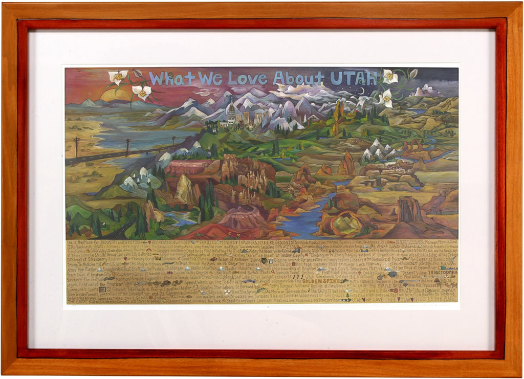 "Framed WWLA Utah Lithograph –  ""What We Love about Utah"" framed lithograph with Utah landscape motif"