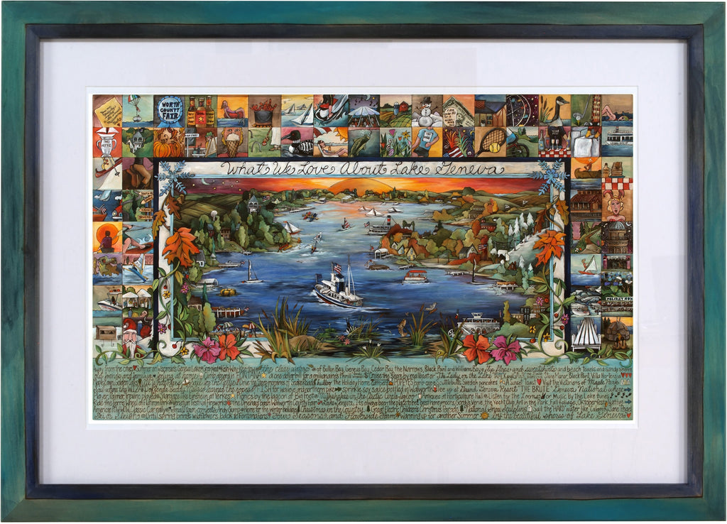 "Framed WWLA Lake Geneva Lithograph –  ""What We Love About Lake Geneva"" litho print in a handcrafted Sticks frame"