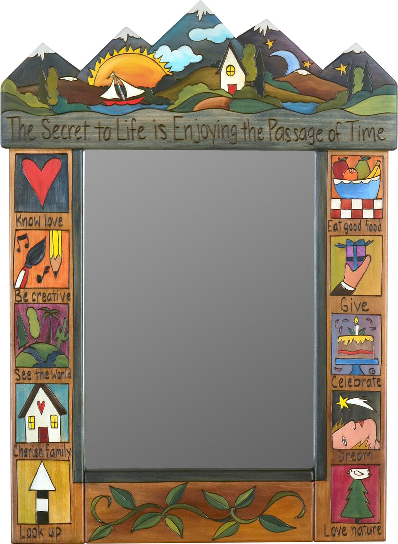 "Medium Mirror –  ""The Secret to Life is Enjoying the Passage of Time"" mirror with sunset and sailboat on the lake motif"
