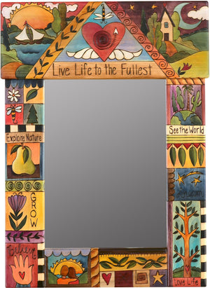 "Medium Mirror –  ""Live Life to the Fullest"" mirror with sunset over the lake and starry night over the rolling hills motif"