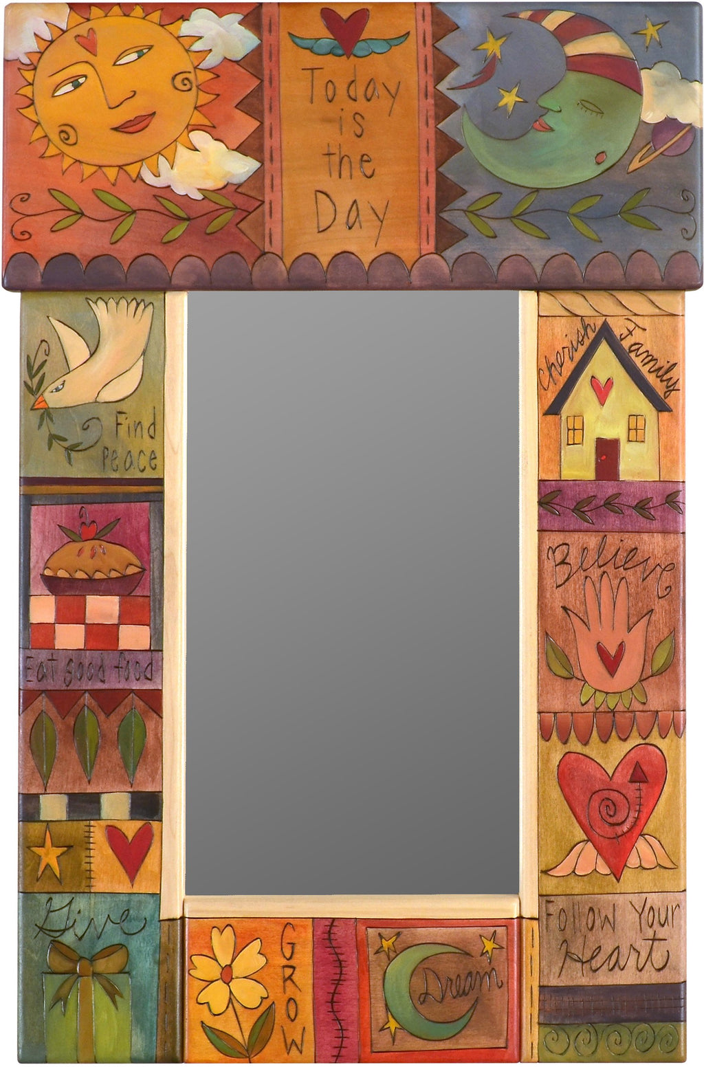 "Small Mirror –  ""Today is the Day"" mirror with inspirational phrases and sun and moon motif"