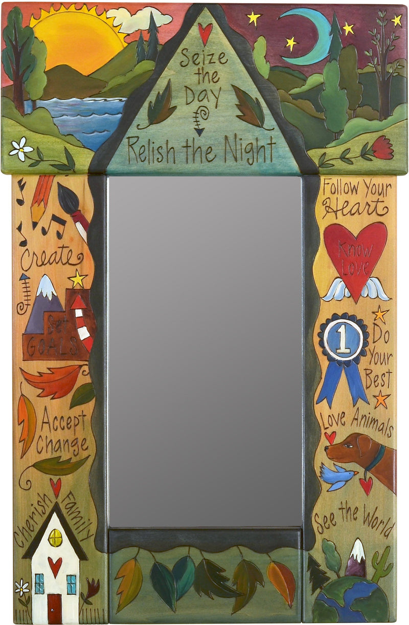 "Small Mirror –  ""Seize the Day, Relish the Night"" sun and moon mirror with floating symbols and icons"