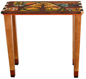 Sticks handmade console table with tree of life and colorful life icons