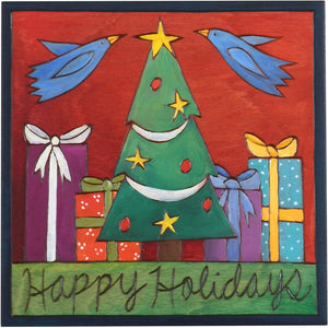 "Sticks handmade wall plaque with ""Happy Holidays"" quote and Christmas tree and presents imagery"