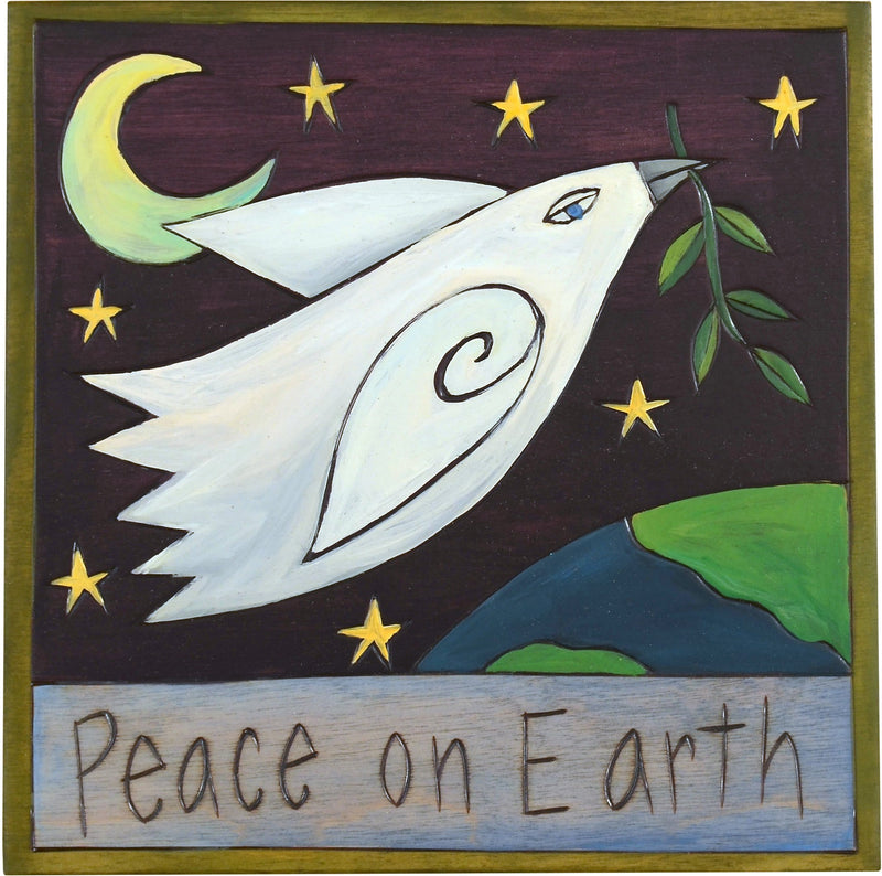 "Sticks handmade wall plaque with ""Peace on Earth"" quote and dove with olive branch"