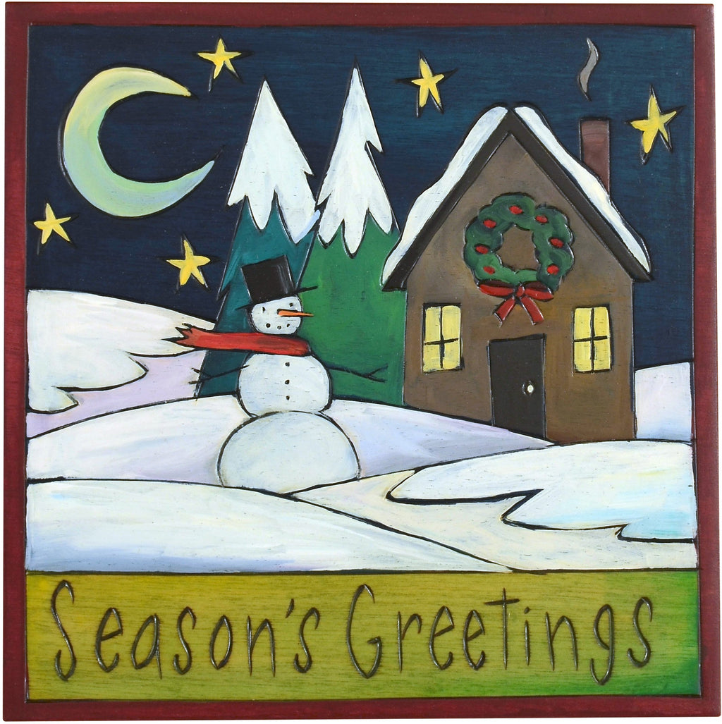 "Sticks handmade wall plaque with ""Season's Greetings"" quote and snowy winter landscape"